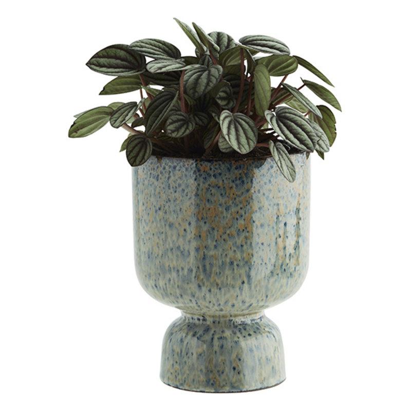 Madam Stoltz-collectie Bloempot mosgroen - blauw 17,5 cm