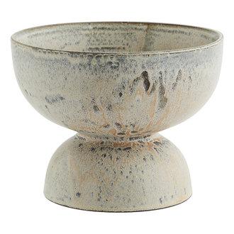 Madam Stoltz Aardewerk bloempot creme-grijs - perzik 14 cm