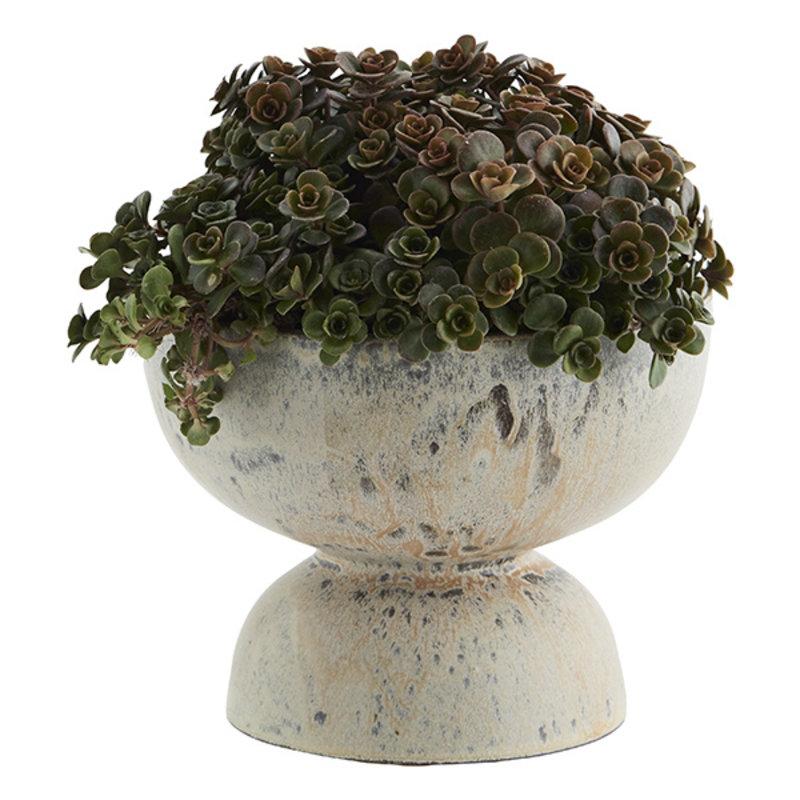Madam Stoltz-collectie Aardewerk bloempot creme-grijs - perzik 14 cm