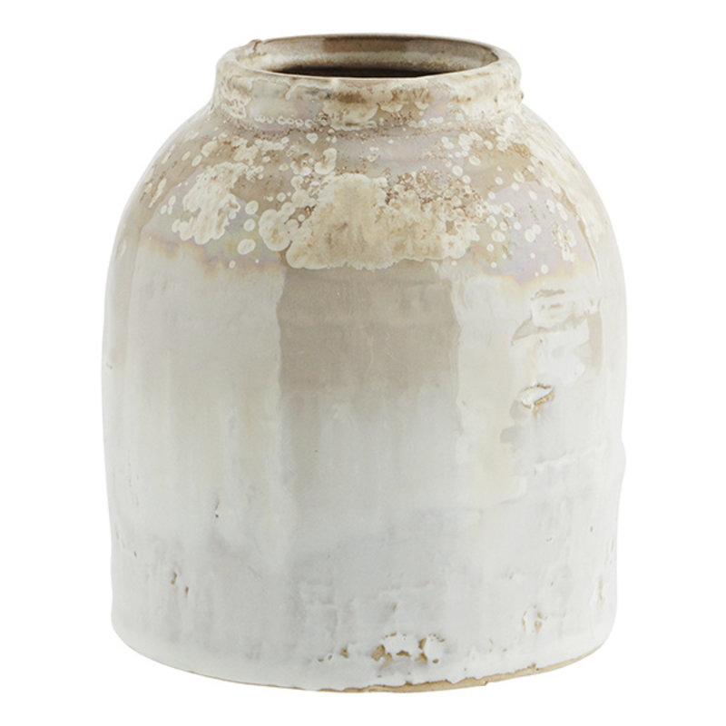 Madam Stoltz-collectie Vaas honing - wit 13 cm