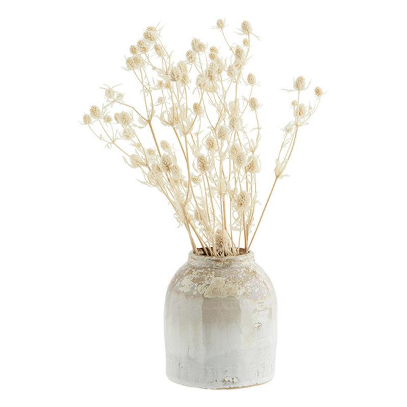 Madam Stoltz-collectie Stoneware vase Honey, white D:11,5x13 cm