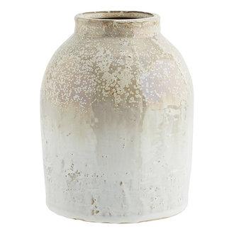 Madam Stoltz Stoneware vase Honey, white D:15x19 cm