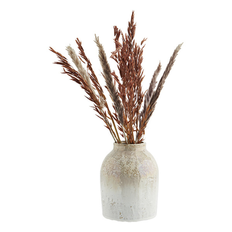 Madam Stoltz-collectie Stoneware vase Honey, white D:15x19 cm