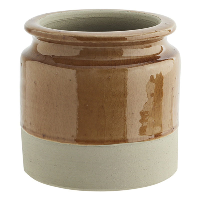 Madam Stoltz-collectie Terracotta flower pot Amber, beige D:14x15 cm