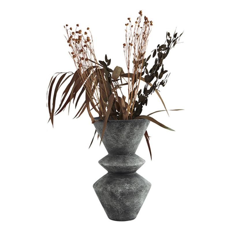 Madam Stoltz-collectie Terracotta vase Washed anthracite D:15x25,5 cm