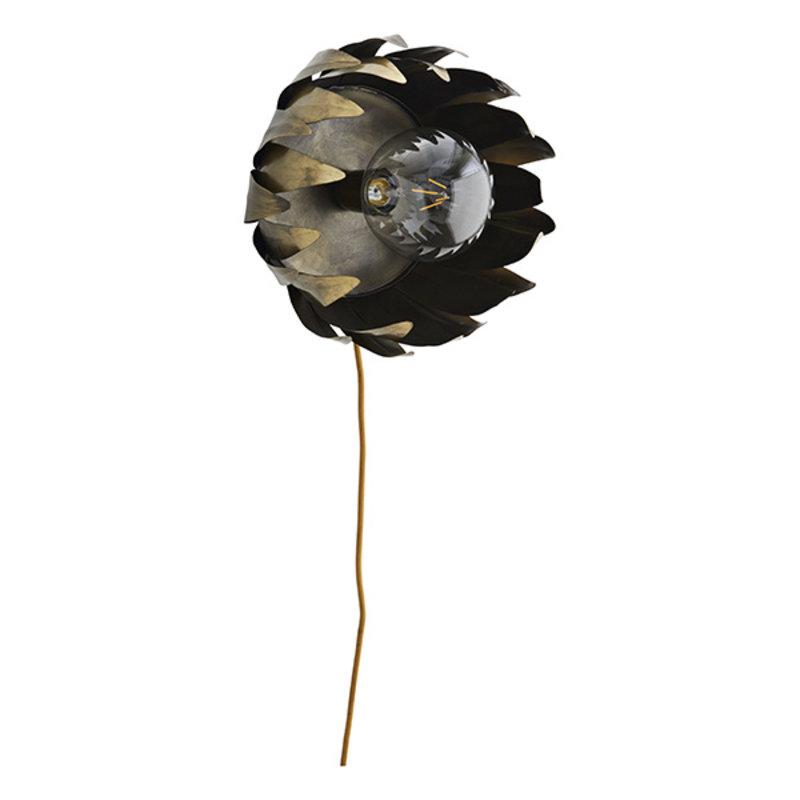 Madam Stoltz-collectie Iron wall lamp Ant.brass D:28x21 cm