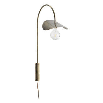 Madam Stoltz Iron wall lamp Ant.brass 37x66x103 cm