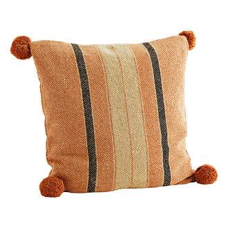 Madam Stoltz Striped cushion cover w/ pompoms Orange, sand, black 50x50 cm