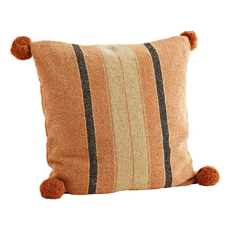 Madam Stoltz-collectie Striped cushion cover w/ pompoms Orange, sand, black 50x50 cm