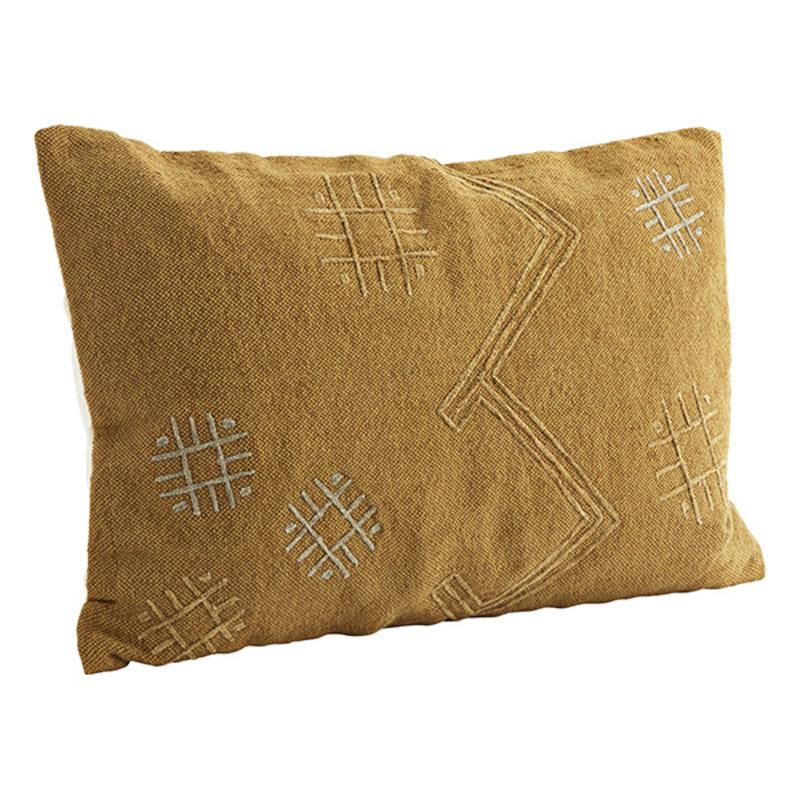 Madam Stoltz-collectie Embroidered cushion cover Dark honey, grey 40x60 cm