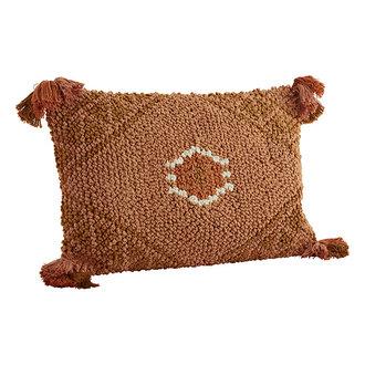 Madam Stoltz Woven cushion cover Peach, oil, white, orange 40x60 cm