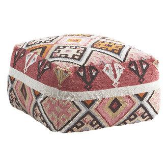 Madam Stoltz Woven wool pouf Raspberry, coral, brown, orange, sand, beige, grey 60x60x35 cm
