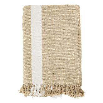 Madam Stoltz Striped woven throw w/ tassels Sand, off white 125x175 cm