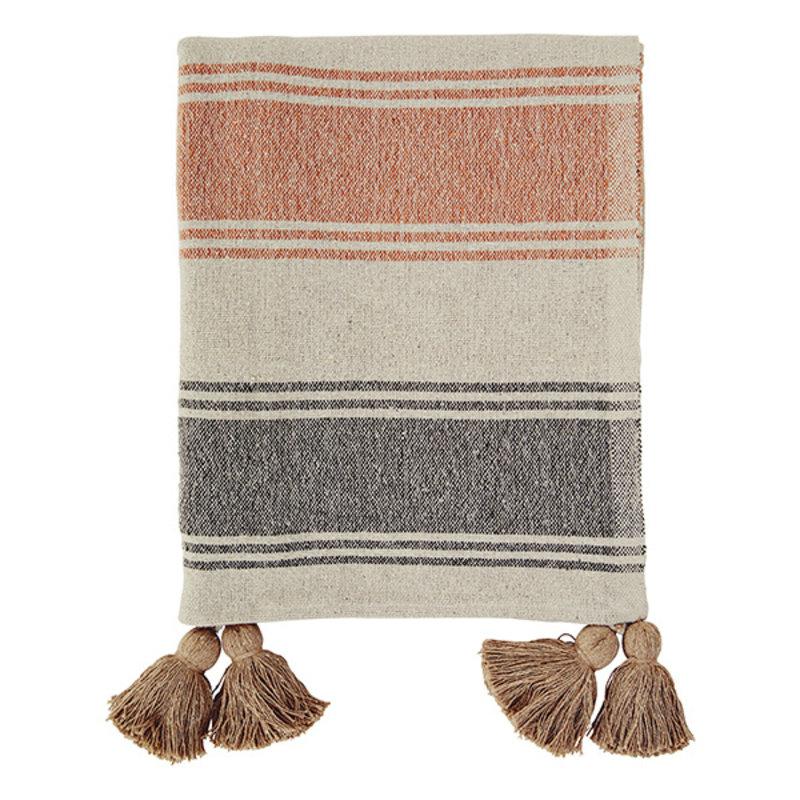 Madam Stoltz-collectie Striped woven throw w/ tassels Beige, sand, orange, charcoal 125x175 cm