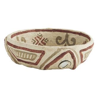 Madam Stoltz Handpainted papier mache bowl Natural, black, rust D:16x4 cm