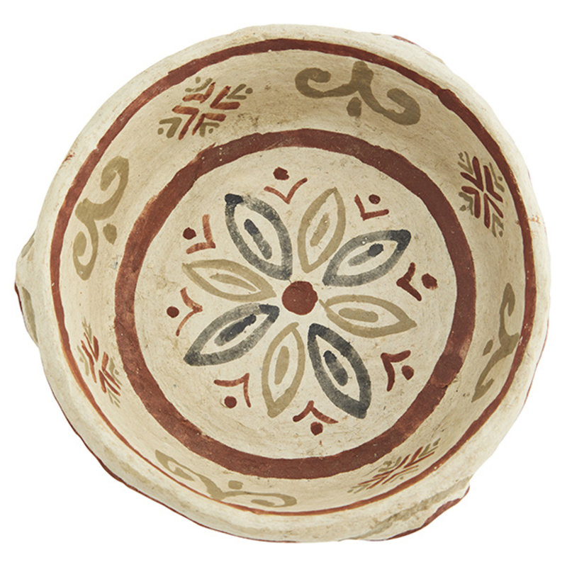 Madam Stoltz-collectie Handpainted papier mache bowl Natural, black, rust D:16x4 cm