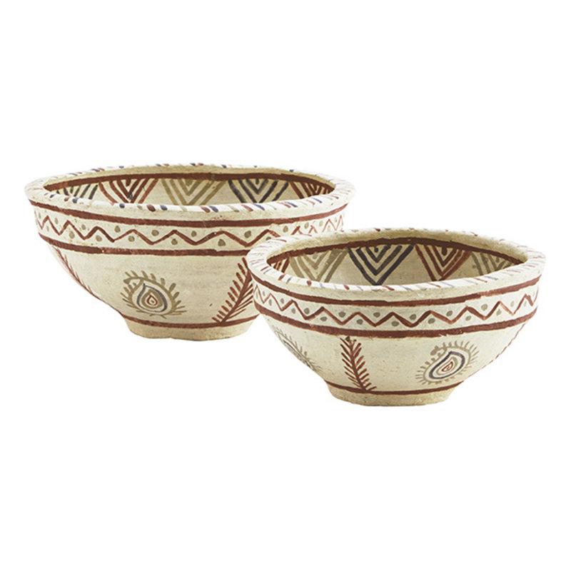 Madam Stoltz-collectie Handpainted papier mache bowls Natural, black, rust D:25x12/32x16 cm