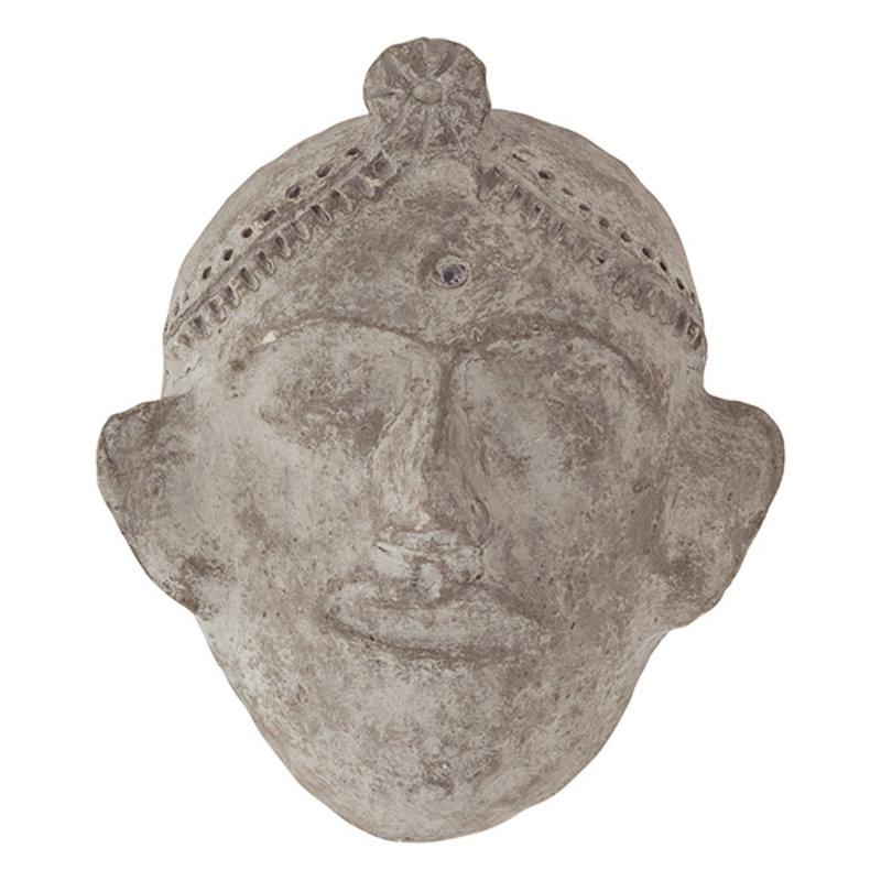 Madam Stoltz-collectie Hanging papier mache mask Antique finish 24x15x27 cm