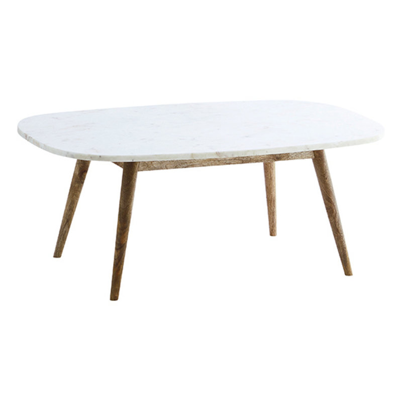 Madam Stoltz-collectie Marble coffee table w/ wooden legs White, natural 90x56x34 cm