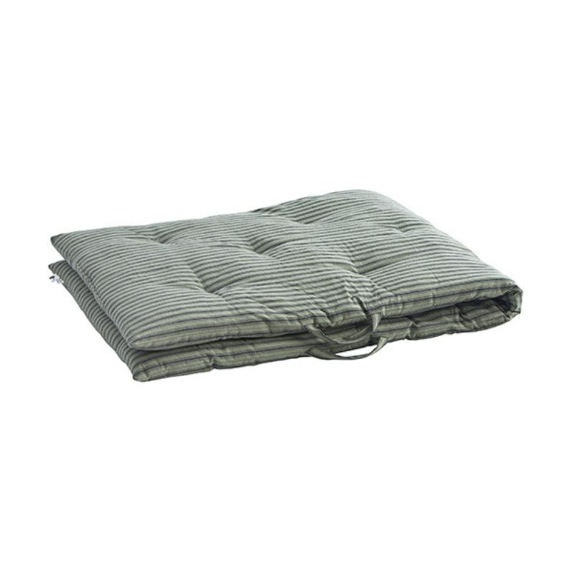Madam Stoltz-collectie Striped woven mattress Moss green, charcoal  70x180 cm