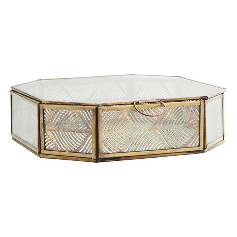 Madam Stoltz-collectie Glass box w/ carved iron Clear, aged brass 21x21x6 cm