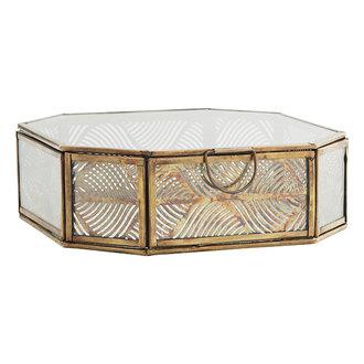 Madam Stoltz Glazen box met patroon antiek brass 18 cm