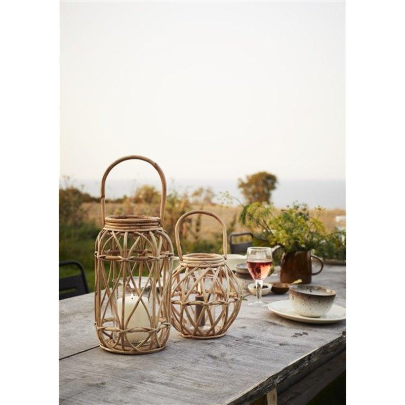 Madam Stoltz-collectie Bamboo lantern Natural, clear D:23x24 cm