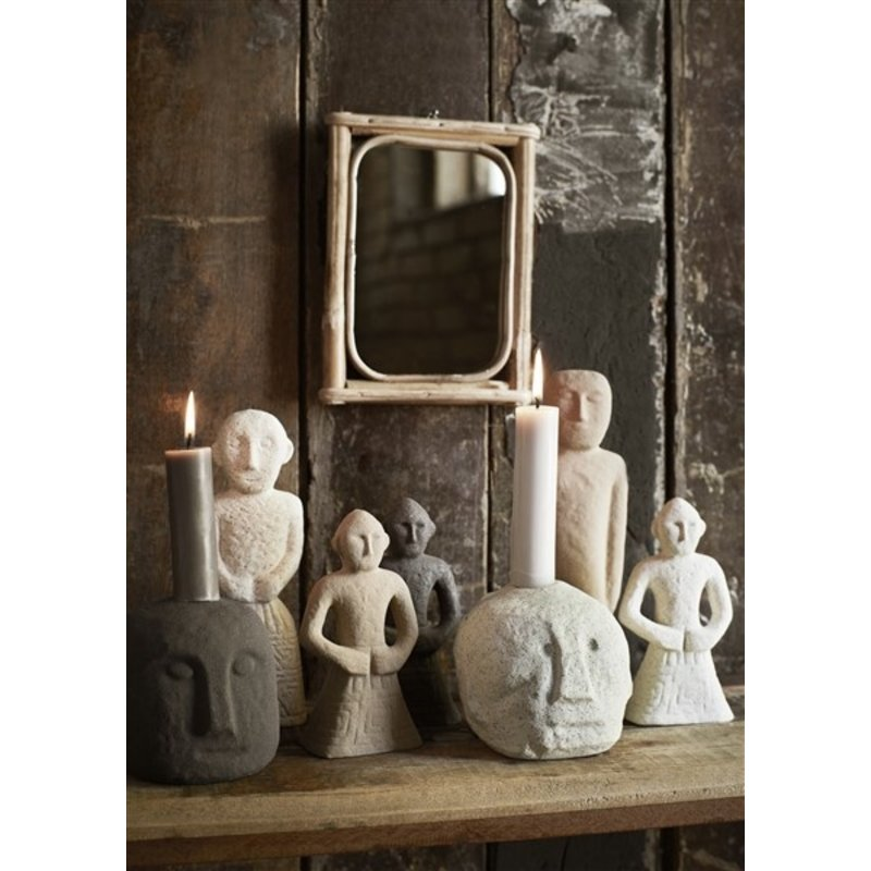 Madam Stoltz-collectie Hanging mirror w/ bamboo Natural 15x20,5 cm