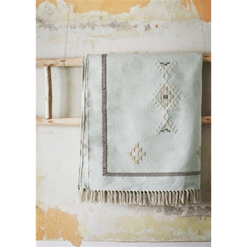 Madam Stoltz-collectie Handwoven cotton rug Mint, off white, ruby wine, nude 120x180 cm