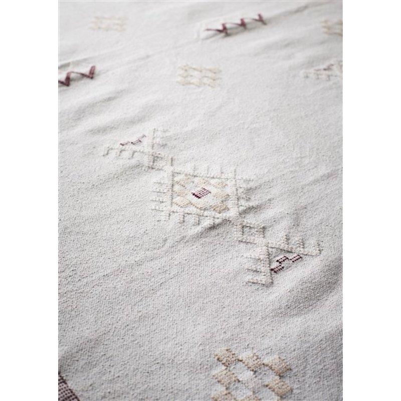 Madam Stoltz-collectie Katoenen vloerkleed mint met handgeweven print