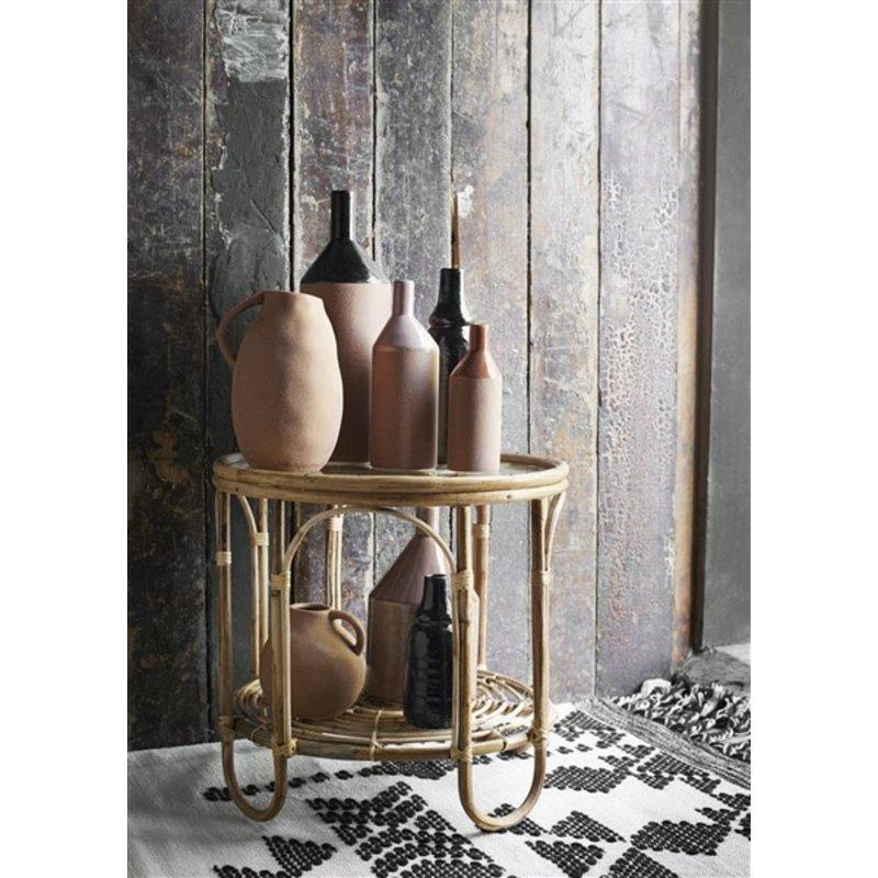 Madam Stoltz-collectie Stoneware vase  Sandstone, black D:14x40 cm