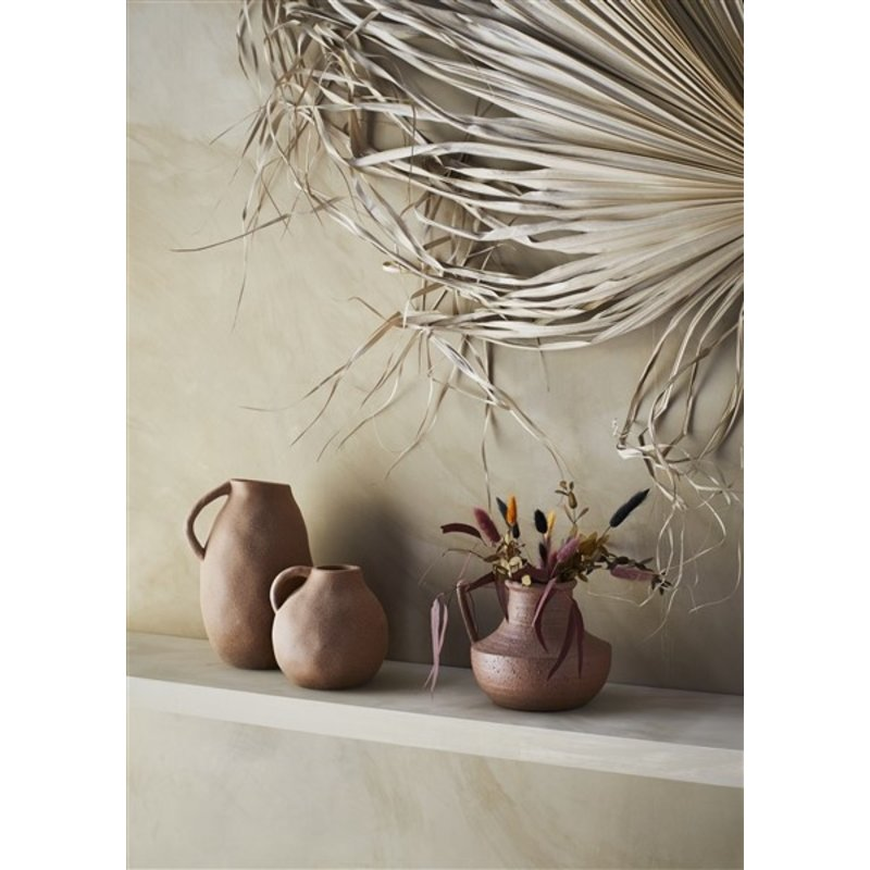 Madam Stoltz-collectie Stoneware vase w/ handle Sandstone D:14,5x14,5 cm