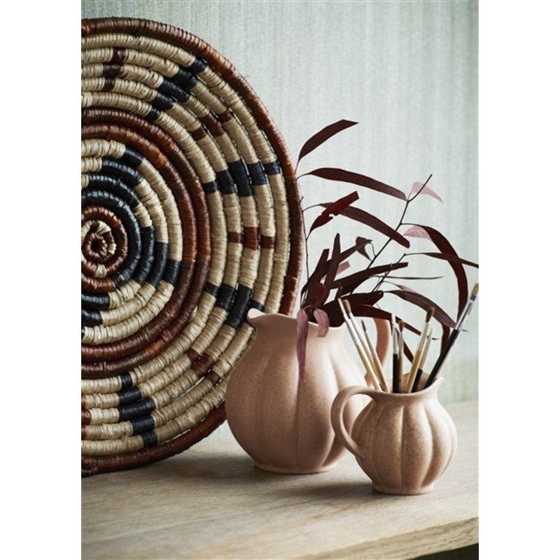 Madam Stoltz-collectie Seagrass tray Natural, black, brown D:45 cm