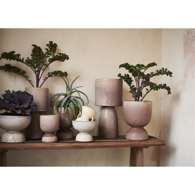 Madam Stoltz-collectie Stoneware flower pot Creme, grey, peach D:13,5x11,5 cm