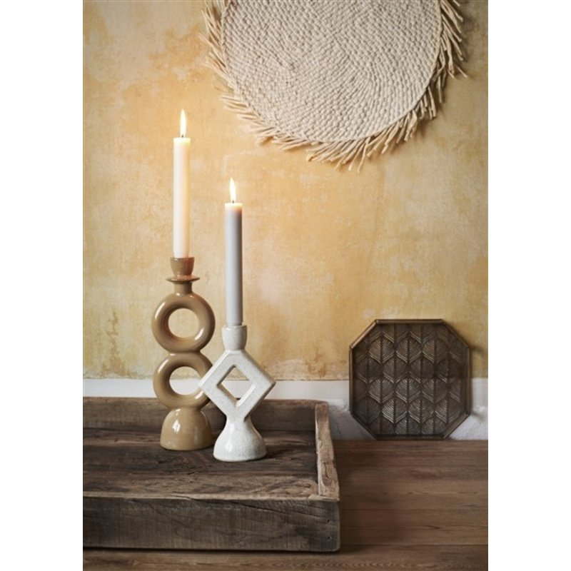 Madam Stoltz-collectie Stoneware candle holder Mustard H:30 cm