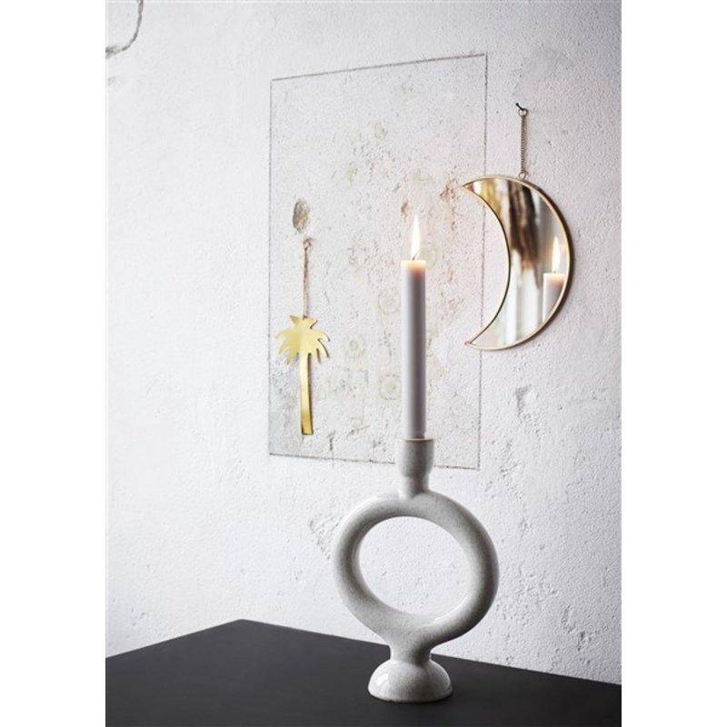 Madam Stoltz-collectie Stoneware candle holder Off white H:27,5 cm