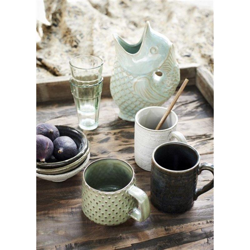 Madam Stoltz-collectie Stoneware bowls Light stone, green, dark petrol D:12x5 cm