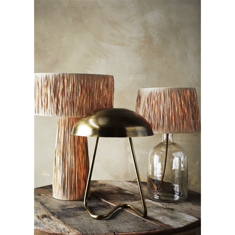 Madam Stoltz-collectie Iron table lamp Ant.brass D:32x40 cm