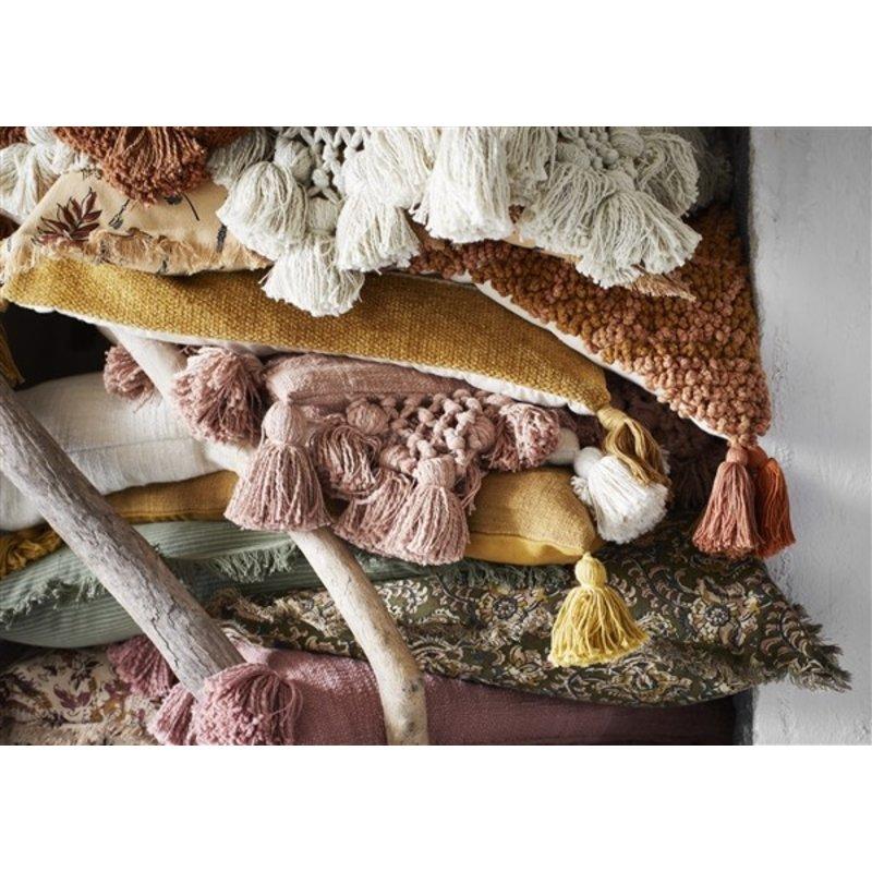 Madam Stoltz-collectie Teddy kussenhoes met kwastjes perzik