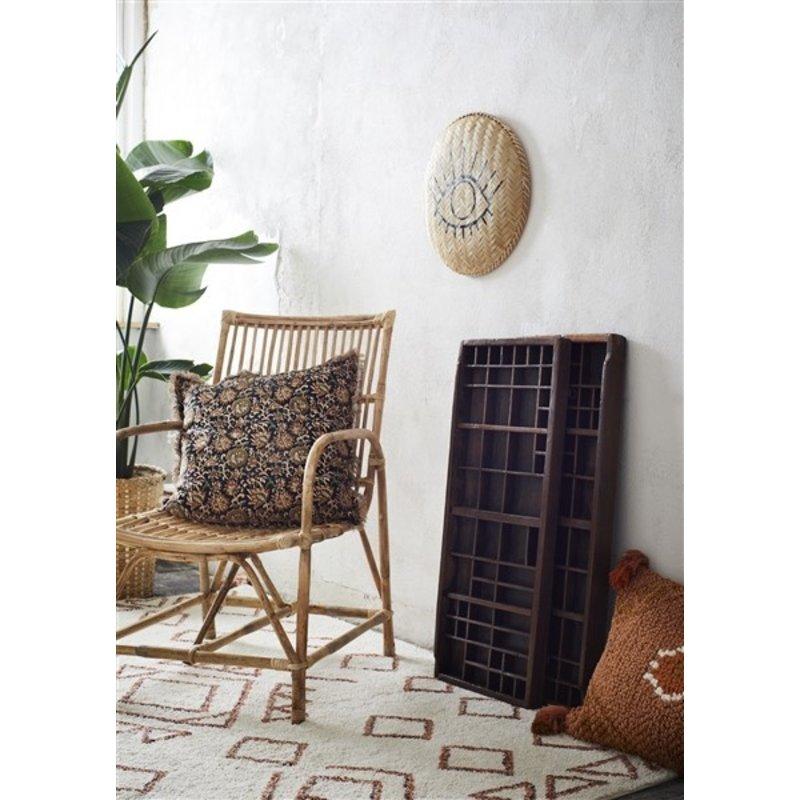 Madam Stoltz-collectie Woven cushion cover Peach, oil, white, orange 40x60 cm