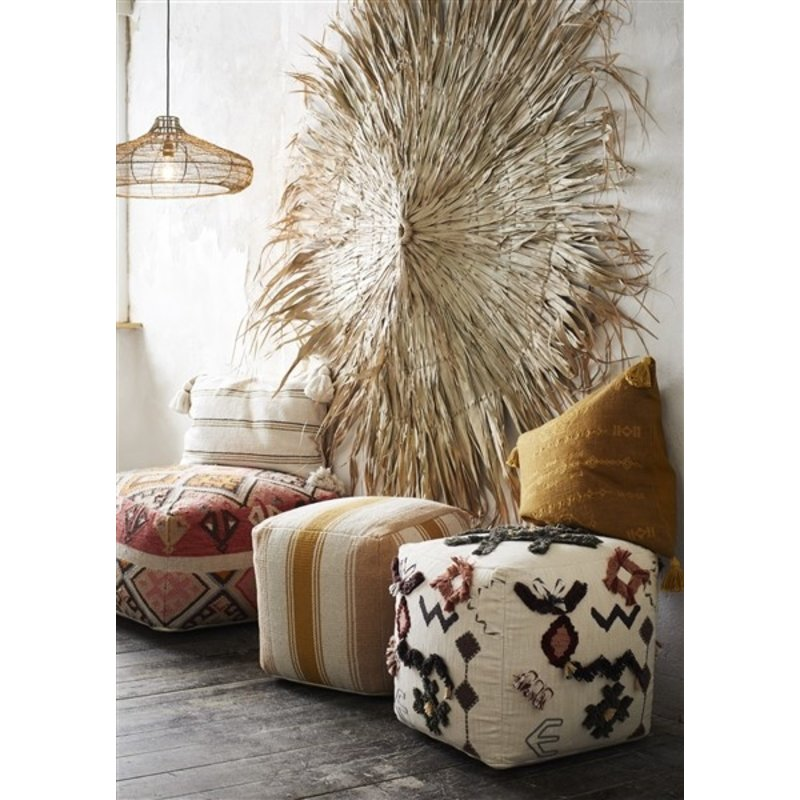 Madam Stoltz-collectie Woven wool pouf Raspberry, coral, brown, orange, sand, beige, grey 60x60x35 cm