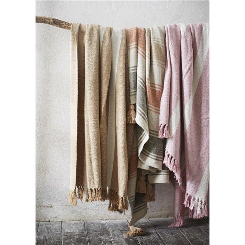Madam Stoltz-collectie Striped woven throw w/ tassels Rose, off white 125x175 cm