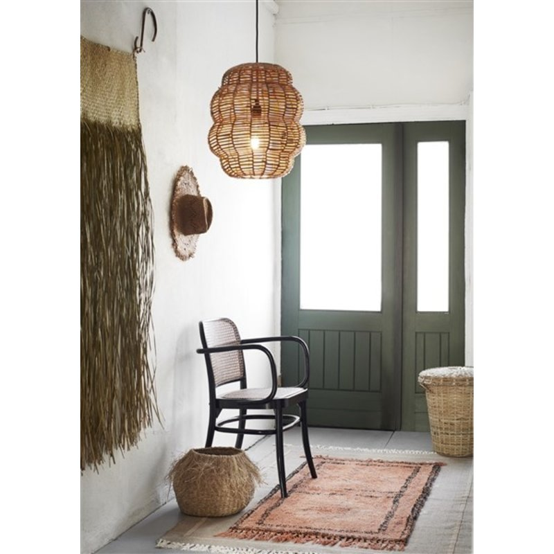 Madam Stoltz-collectie Seagrass basket w/ fringes Natural D:35x30 cm