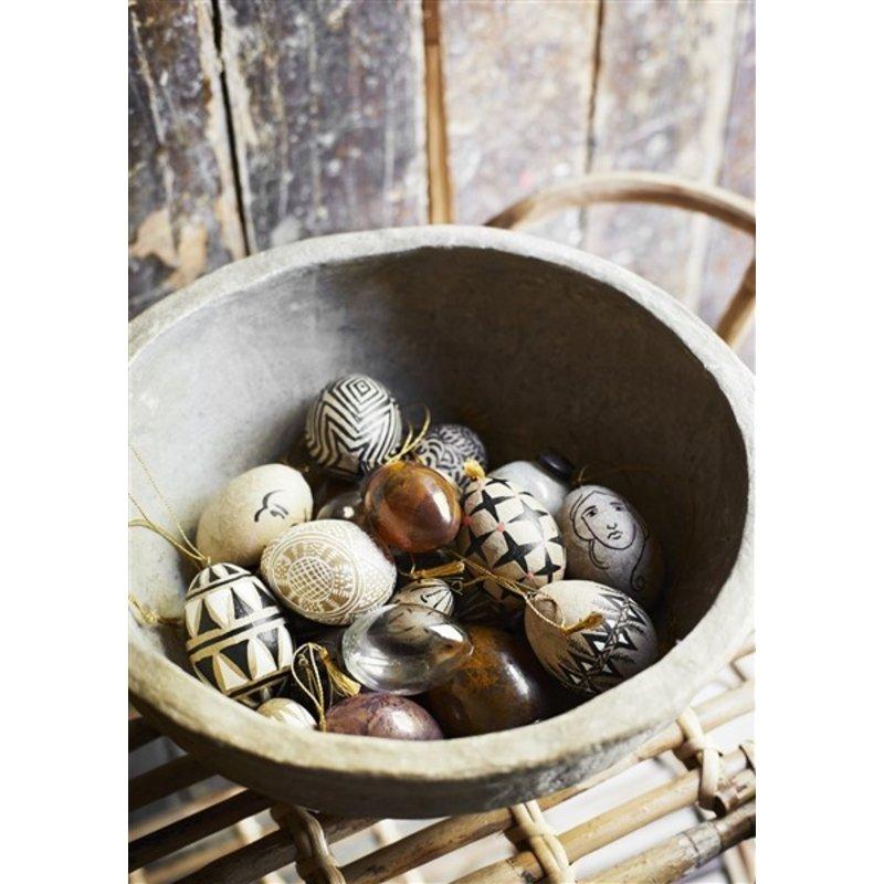 Madam Stoltz-collectie Handmade papier mache bowls Antique finish D:26x12/33x15 cm