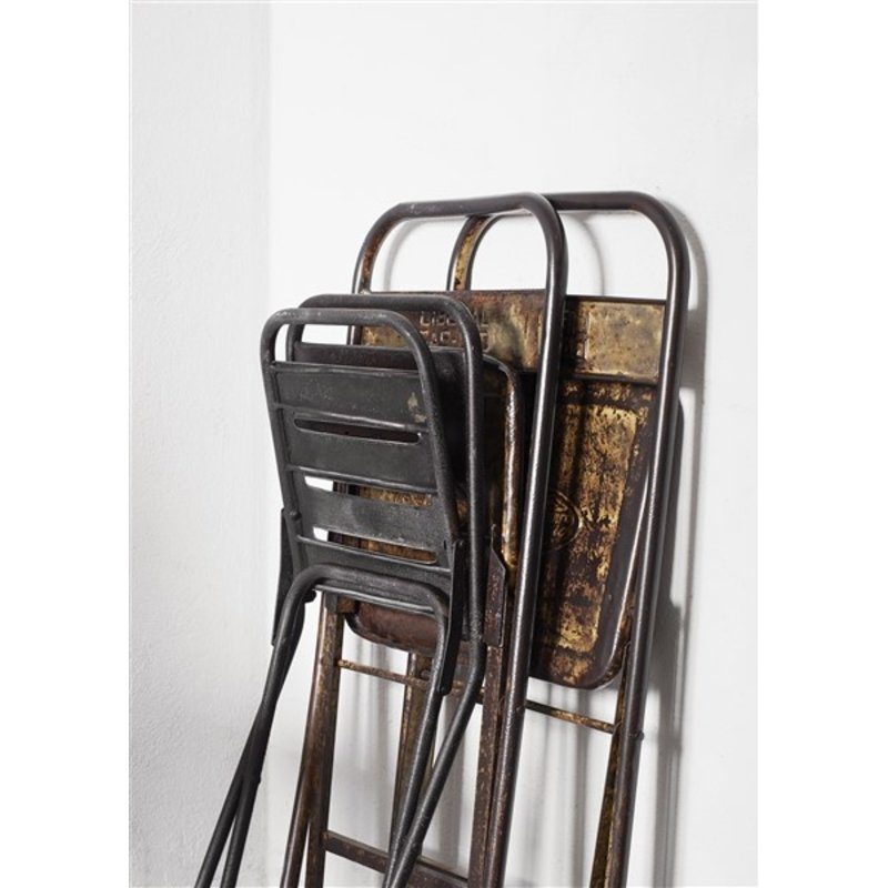 Madam Stoltz-collectie Recycled folding iron chair Iron natural 40x48x78 cm