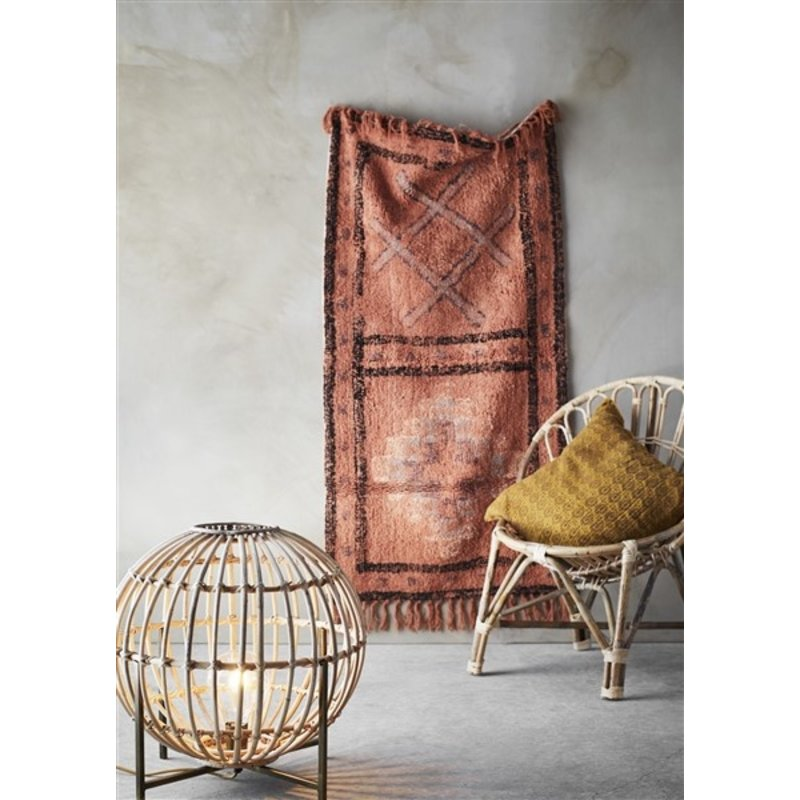 Madam Stoltz-collectie Tufted cotton runner w/ fringes Orange, charcoal, off white 70x140 cm