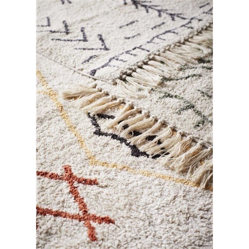 Madam Stoltz-collectie Tufted cotton bath mat Ivory, jade 60x90 cm