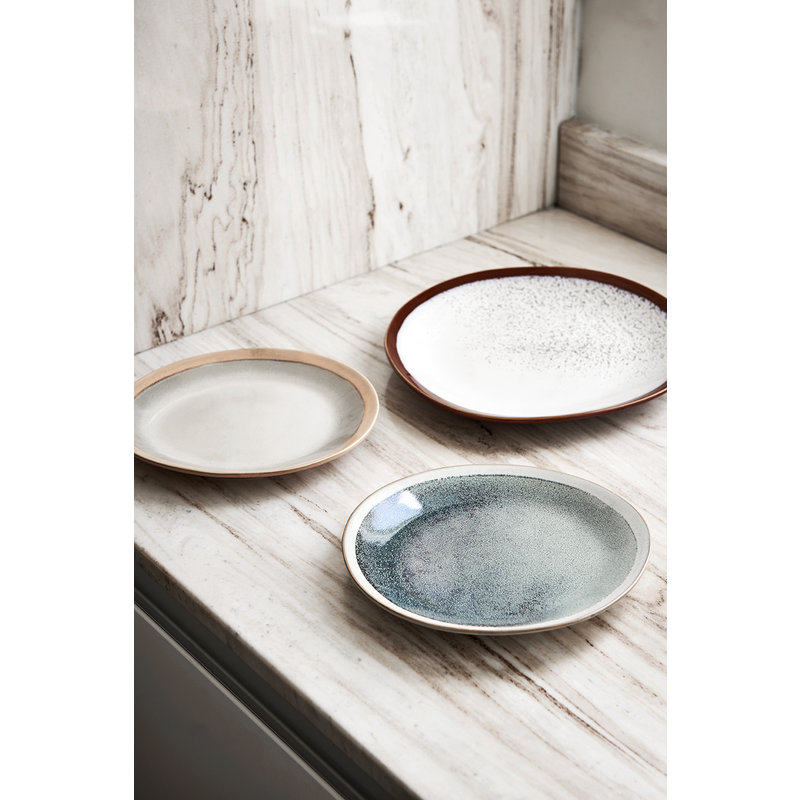 HKliving-collectie ceramic 70's side plate: earth - set of 2