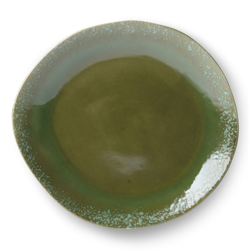 HKliving-collectie Ceramic diner plate 70's style green - set of 2