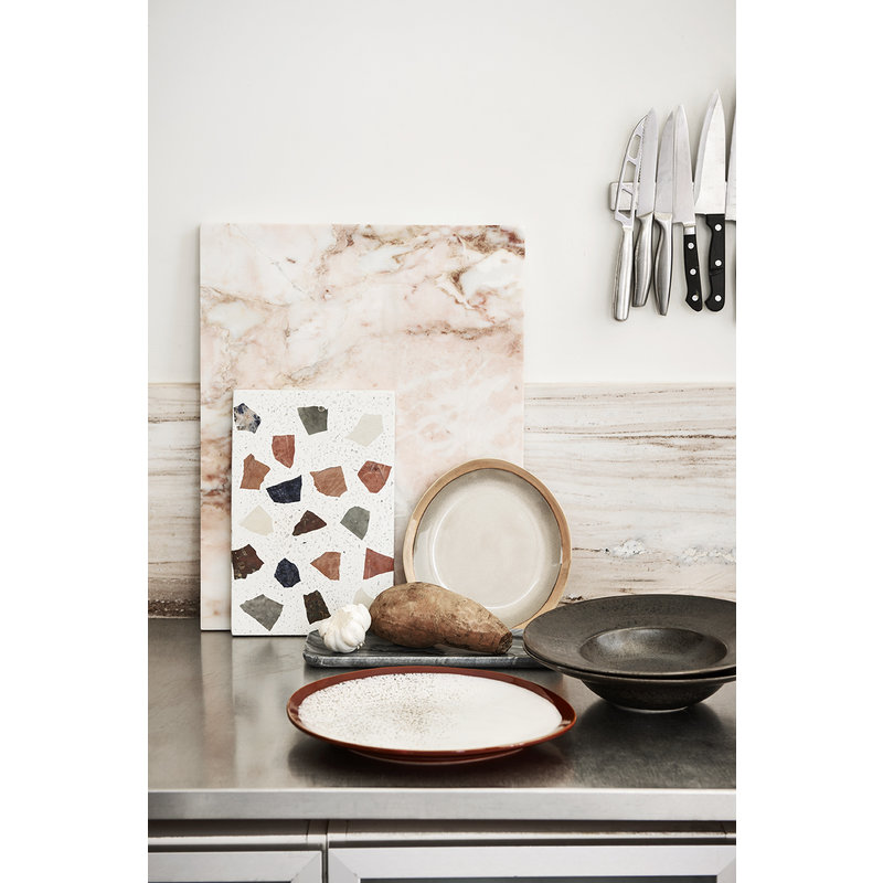 HKliving-collectie ceramic 70's dinner plate: earth - set of 2